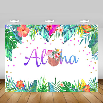 Aloha Tropical Party Photography Backdrop Decoration Hainan Coconut Summer Birthday Photo Background Flowers Green Leaves image