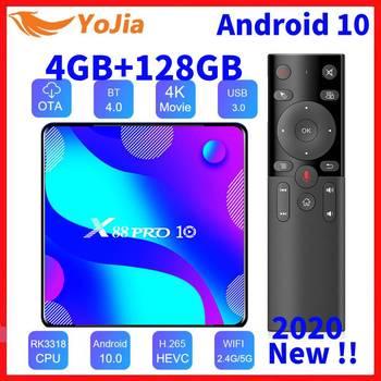 Android 10,0 Smart TV Box Android 10 MAX 4GB RAM 128GB ROM RK3318 BT 4,0 TVBOX 5,8G dual Wifi Media Player Youtube 4K Set Top Box