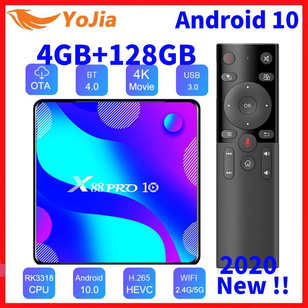 Android 10.0 Smart TV Box Android 10 MAX 4GB RAM 128GB ROM RK3318 - Otthoni audió és videó