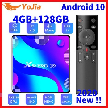 Android 10.0 Smart TV Box Android 10 MAX 4GB RAM 128GB ROM RK3318 BT4.0 TVBOX 5.8G двойной Wi-Fi медиаплеер Youtube 4K телеприставка