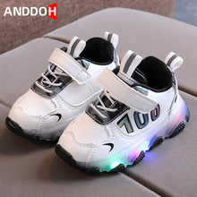 Size 21-30 Girls Luminous Sneakers Baby Breathable Glowing Shoes Boys Wear-resistant Damping Shoe Children Led Light Up Sneakers cheap ANDDOH 4-6y 7-12y 12+y CN(Origin) Four Seasons unisex Fits true to size take your normal size Hook Loop Solid Cotton Fabric