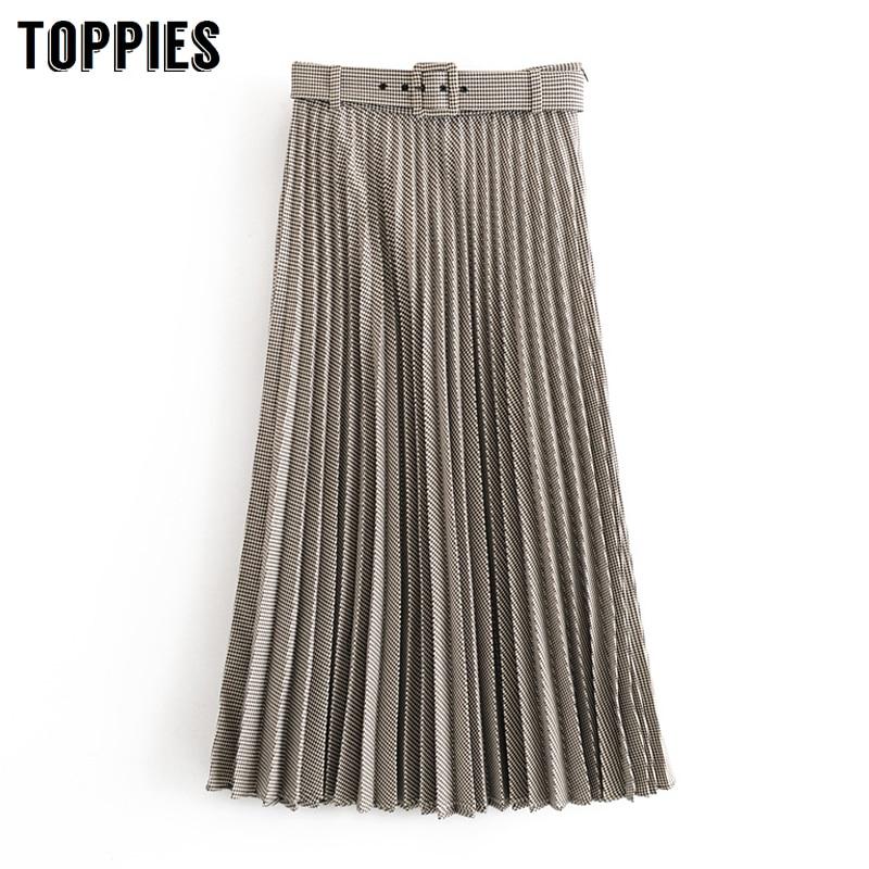Vintage Lattice Pleated Skirts Office Lady Long Skirt With Belt Women Elegant Faldas Saia Streetwear