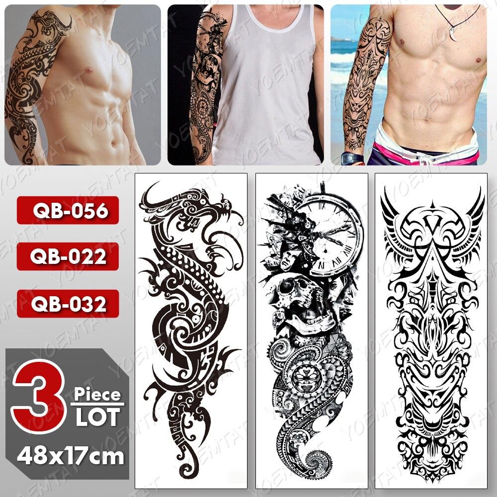 3 Pcs/lot Large Arm Sleeve Tattoo Dragon Maori Totem Waterproof Temporary Tatto Sticker Skull Body Art Full Fake Tatoo Women Men