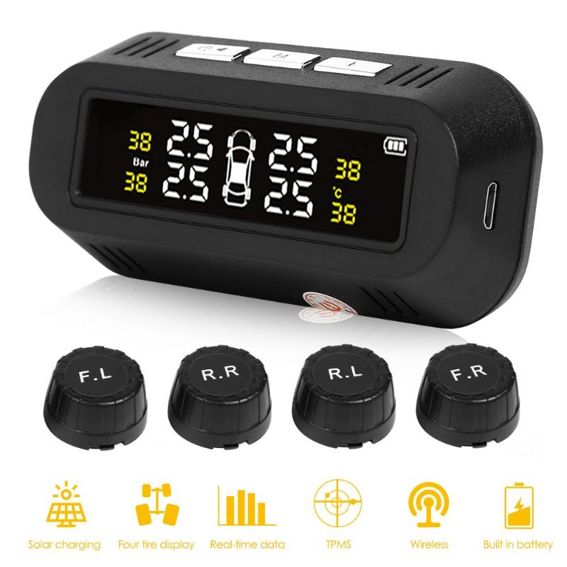 VODOOL C68 Solar Power TPMS Car Tire Pressure Monitoring System LCD Digital Display Tyre Pressure Alarm Systems With 4 Sensors