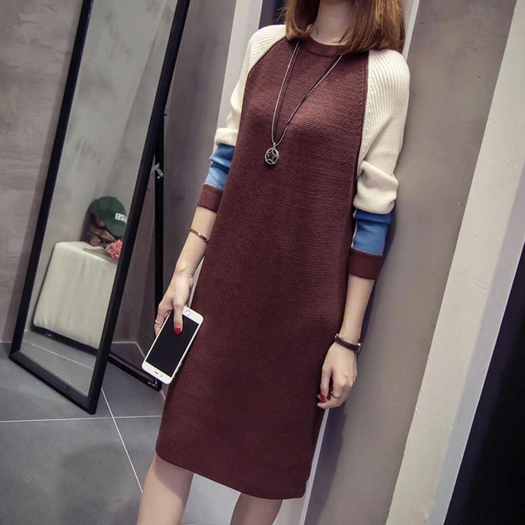 Sukienka damska 2019 Casual Winter Warm Women moda jesień koreański luźna sukienka z dzianiny długi sweter z rękawem długie sukienki