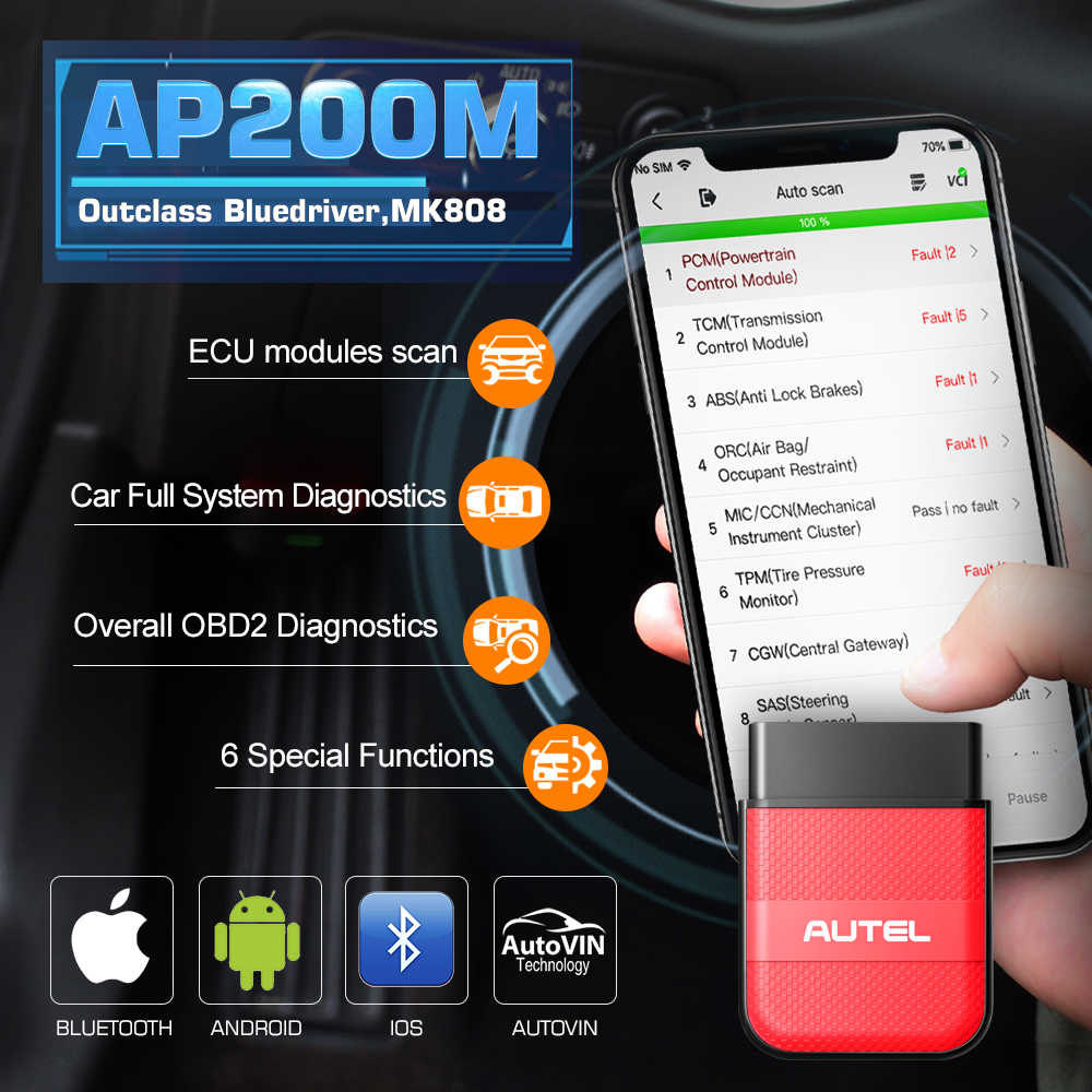 Autel AP200M Bluetooth Obd2 Scanner Diagnose Scanner Auto Code Reader Volledige System Diagnostic Tool Pk Easydiag 3.0 Thinkdiag