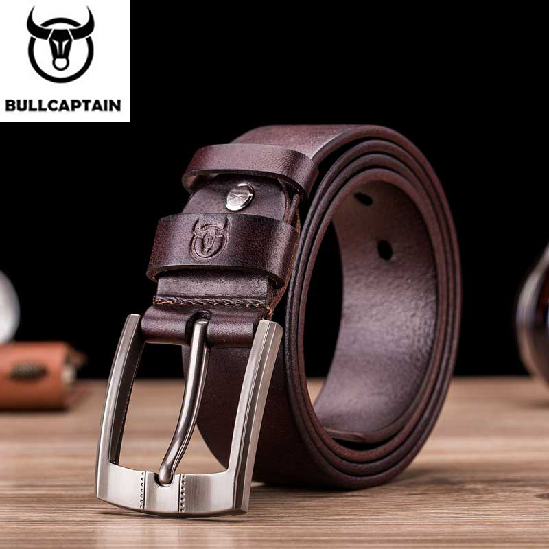 Bullcaptain Tree Cream Luxury Sling New Fashion Classic Retro Pin Buckle Men's Belt High Quality Smooth Raw Men's Belts