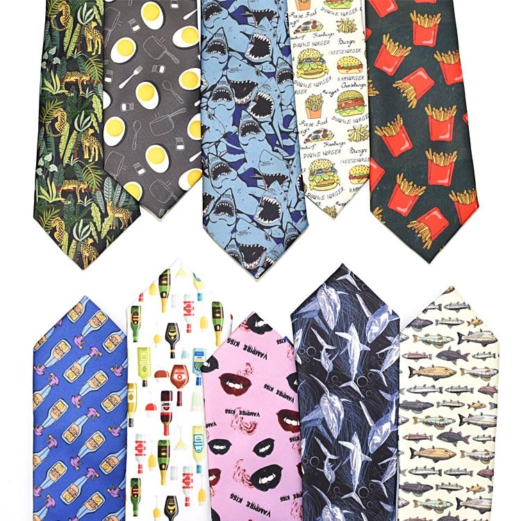 Men Or Women Print Ties Funny Animal 7.5cm Wide Tie Unique Design For Boy's Necktie