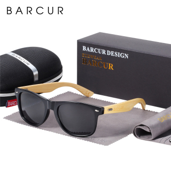 BARCUR Polarized Bamboo Sunglasses Men Wooden Sun glasses Women Brand Original Wood Glasses Oculos de sol masculino 1