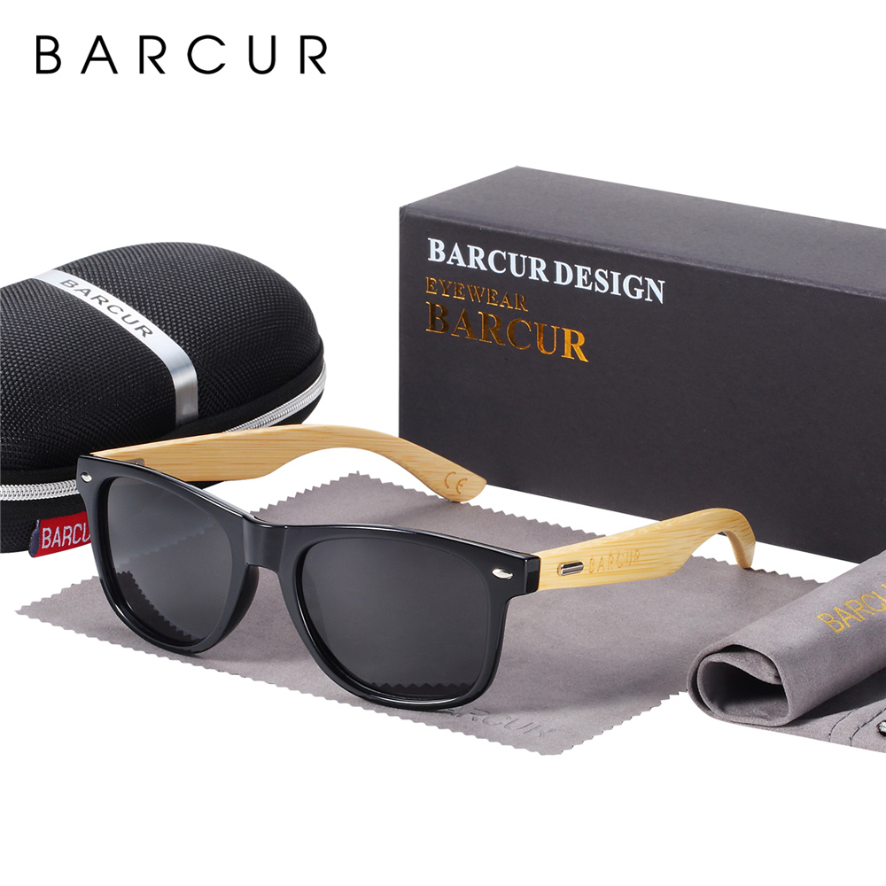 BARCUR Polarized Bamboo Sunglasses Men Wooden Sun glasses Women Brand Original Wood Glasses Oculos de sol masculino