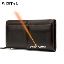 WESTAL Customize Mens Clutch Bag Mens Genuine Leather Wallet Coin Purse Men Zip Phone Wallets for Cards Money Bags Long Walet