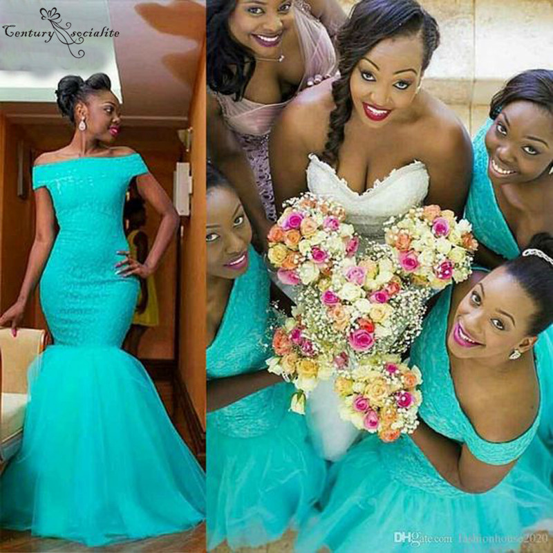 2020 African Bridesmaid Dresses Long Mermaid Wedding Guest Dress Maid Of Honor Gowns Off Shoulder Turquoise Wedding Party Gowns