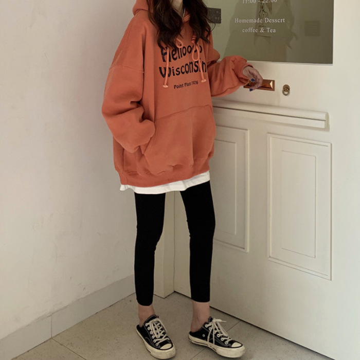 Spring&autumn Kpop Oversize Orange Gray Loose Fit Women Hoodie Long Sleeve Casual Style Joint Hoodie Free Shipping 2020