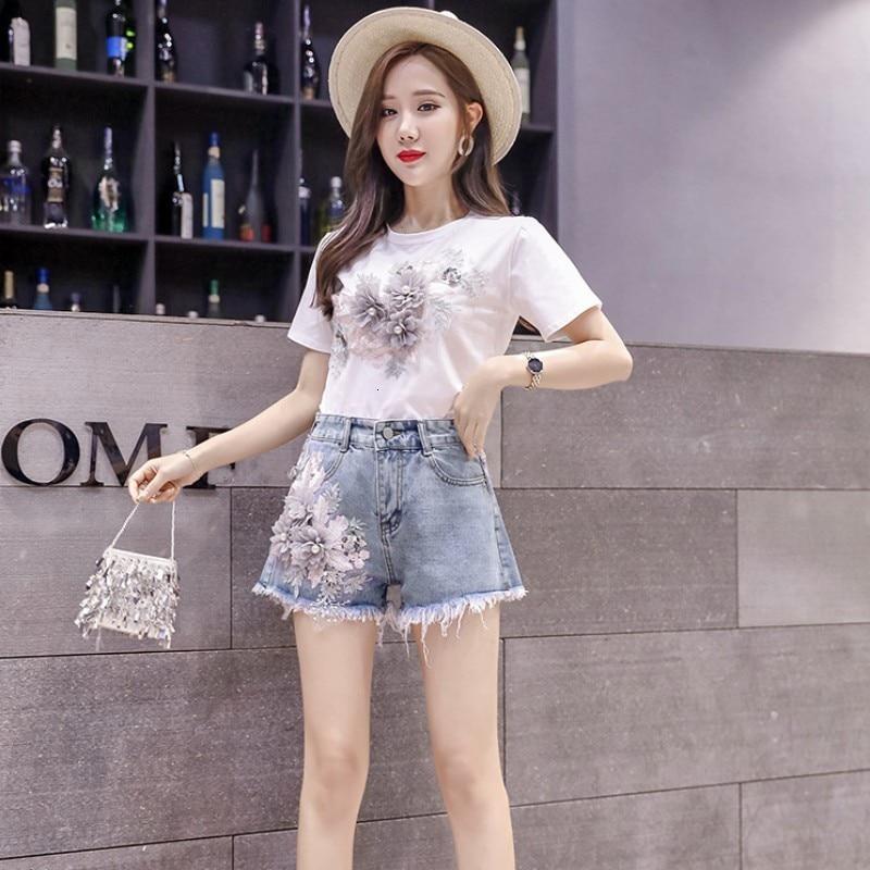 Women Summer Denim Shorts Two Piece Set Casual Flower Emboridery Conjuntos De Mujer Streetwear Short Sleeve T-shirt Outfits Suit