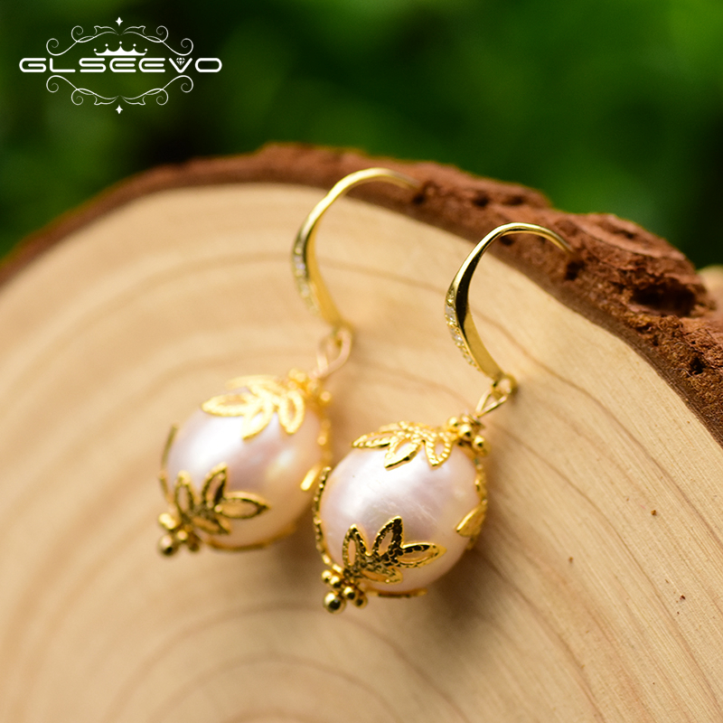 GLSEEVO Original Natural Fresh Water Baroque White Pearl Earrings For Women Wedding Handmade Earrings Silver 925 Jewelry GE0320