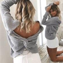 Женский вязаный свитер осень зима с длинными рукавами сексуальным