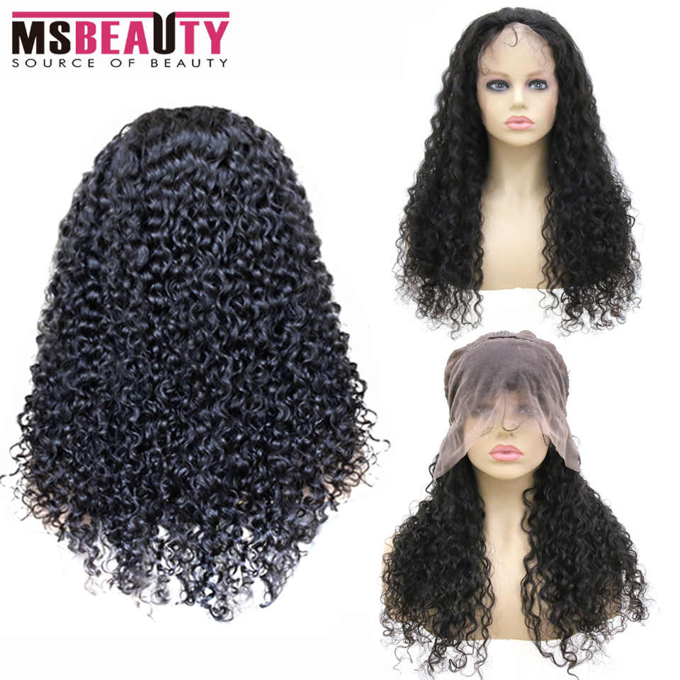 Peruvian Curly Human Hair Wig 13X4 Glueless Msbeauty Lace Front Human Hair Wig With Baby Hair Pre Plucked Remy Hair 150% Density