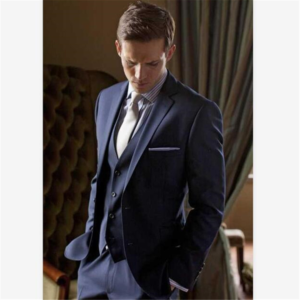 New Classic Men's Suit Smolking Noivo Terno Slim Fit Easculino Evening Suits For Men Two Buttons Navy Blue Groom Tuxedos Notch L