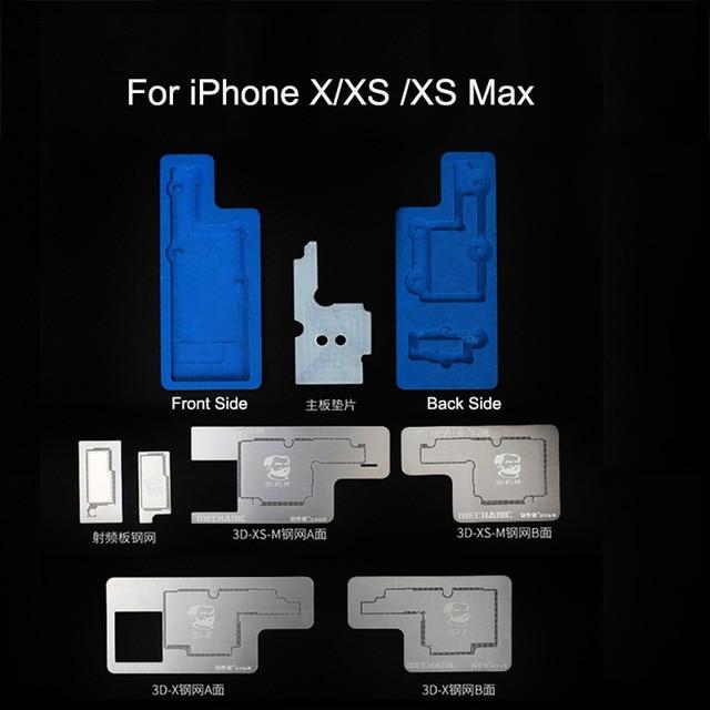 MECÂNICO 3D Kit BGA Reballing Stencil Para o iphone X/XS/XR/XS MAX camada Intermediária pode ser plantadas plataforma template tin solda