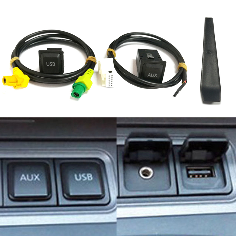 For RCD510 RNS315 <font><b>USB</b></font> AUX switch cable <font><b>USB</b></font> audio adapter for <font><b>VW</b></font> Passat B6 B7 <font><b>Golf</b></font> 5 6 Jetta MK5 MK6 Polo CC <font><b>USB</b></font> connector image