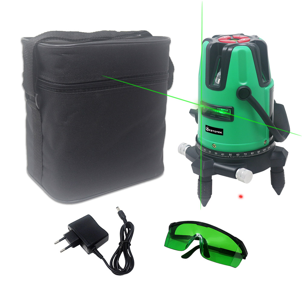 5 Red Green Line Laser Level Self-leveling Horizon Vertical Cross Line 360 Degree Rotary 6 Poins 532nm Outdoor Tripod