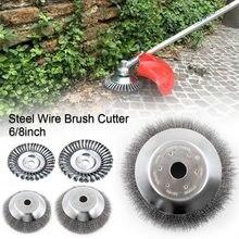150/190mm cabeça do aparador de aço jardim erva daninha fio de aço escova break-proof borda arredondada cabeça do aparador de ervas daninhas para grama de cortador de grama de energia