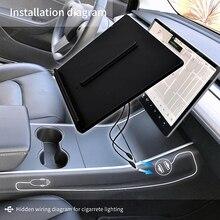 Dla Tesla Model 3 Y telefon komórkowy bezprzewodowa ładowarka Pad Dock akcesoria konsola środkowa ładowarka użyj zapalniczki do iphonea