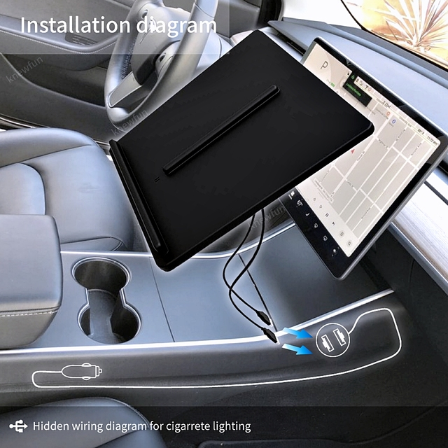 For Tesla Model 3 Y Mobile Phone Wireless Charging Pad Dock Accessories Center Console Charger Use Cigarette Lighter for iPhone