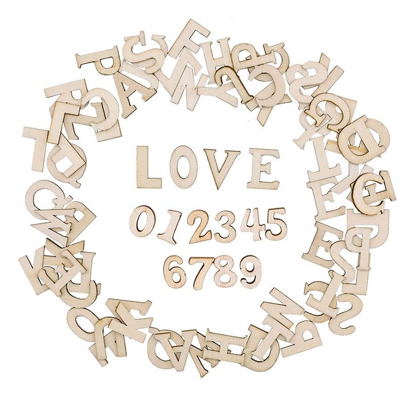 100pcs di Legno di Alfabeto Inglese Lettere Decorative Numeri In Legno Mini Ornamenti di Legno Scrapbooking FAI DA TE Arte Artigianato per la Decorazione