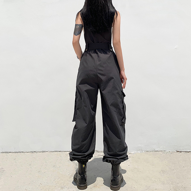 Rockmore Gothic Black Overalls Womens Cargo Pants Plus Size Sling Bow Belt Dungarees Wide Leg Pants Casual Trousers Plus Size