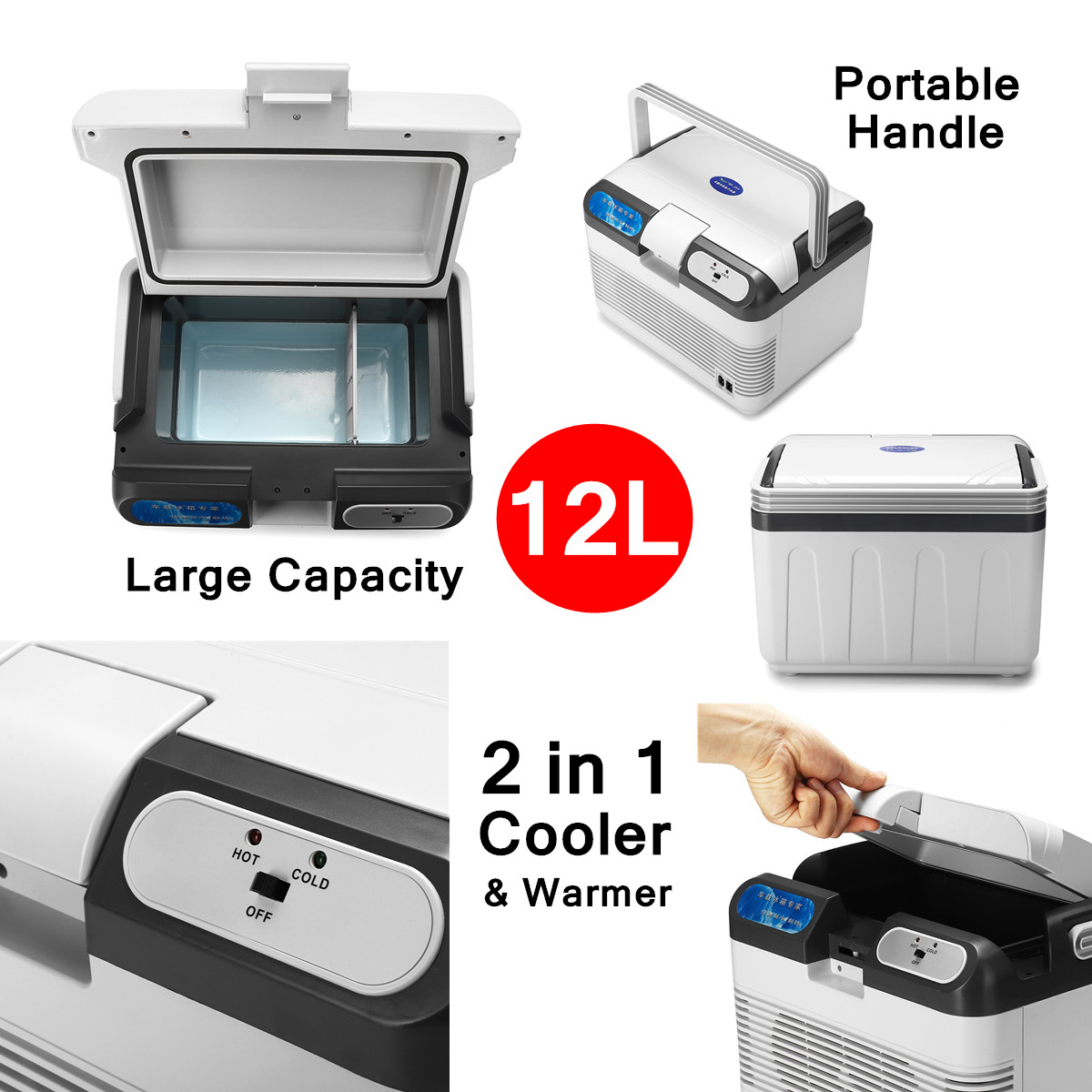 12L Refrigerator Dual-Use Home Car Refrigerators Mini Freezer 12V 60W Portable Ultra Quiet Cooling Heating Box Fridge for Travel