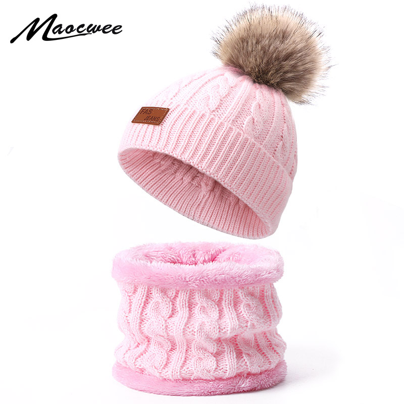Autumn Winter Nack Ring Scarf Sets For Children With Faux Fur Pompon Warm Knitted Thick Hat Scarf Set Solid Kids Crochet Beanies