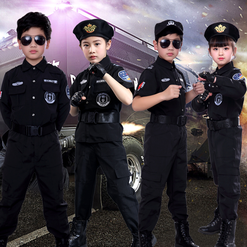 Boy/Girl Policemen Costumes Children Cosplay For Kids Army Police Uniform Clothing Set Long Sleeve Fighting Performance Uniforms