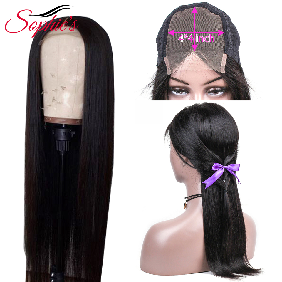 Sophie's Brazilian 4*4 Lace Closure Human Hair Wigs For Black Women Non-Remy Hair Straight Lace Closure Wigs With Baby Hair