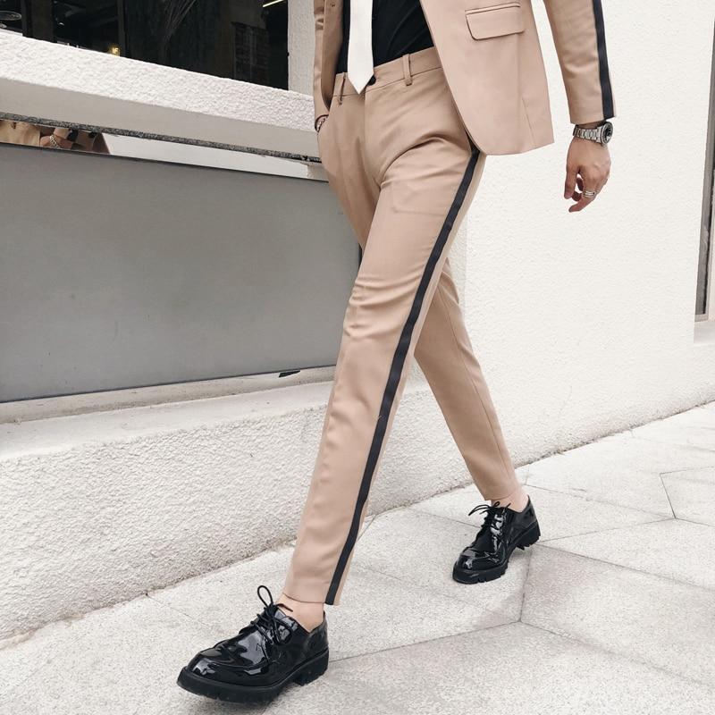 Pantalon Homme Slim Fit Side Stripe Trousers Calcas Sociais Formal Mens Suit Pants Tight Vestido Hombre Office Elegant Pants Men
