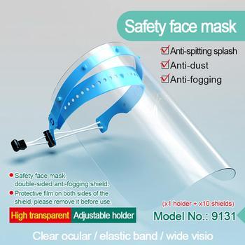 10PC maski przeciwmgielne i przeciwmgielne maska przeciwpyłowa maska ochronna pełna twarz maska ochronna z unoszoną szybą osłona przeciwsłoneczna tanie i dobre opinie Full Face Shield Mask Safety Mask Splash mask Anti-fog and Anti-dust Mask UV protection mask visiere protection