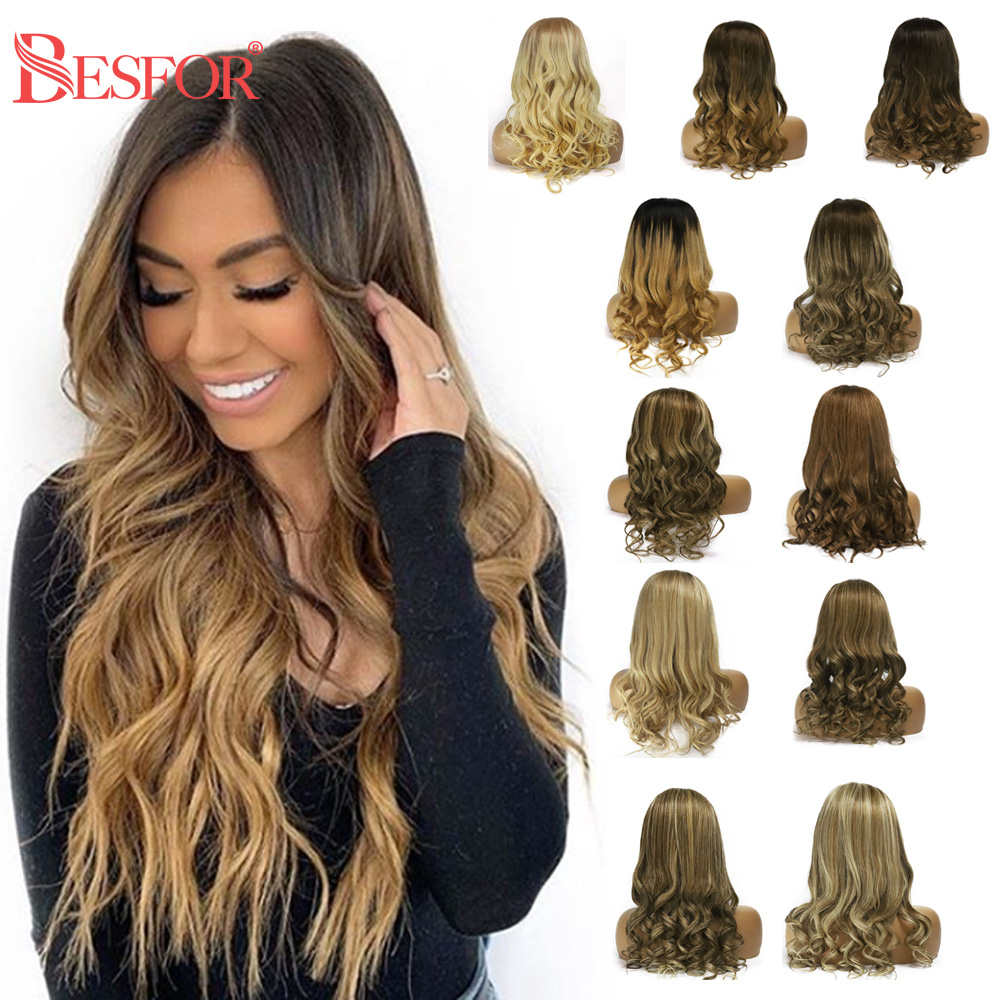 BESFOR Natural Wave 13x6 Lace Front Human Hair Wig Balayage Ombre Color Glueless Pre Plucked Highlights Remy Lace Frontal Wigs