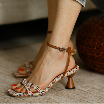 HQFZO 2020 Print Flower Peep Toe Strap High Heels Women Summer Sandals Kitten Party New Ladies Shoes 6cm
