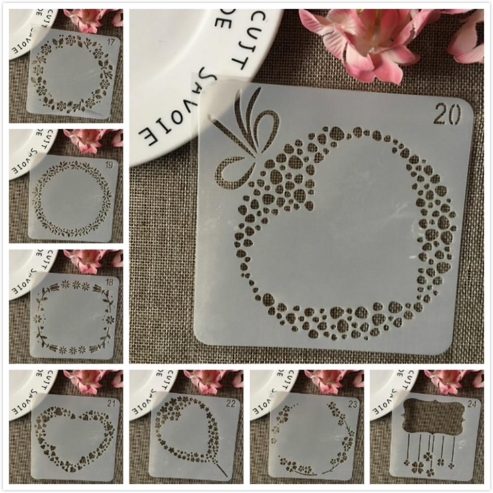 8Pcs/Set 13cm Heart Balloon DIY Layering Stencils Wall Painting Scrapbook Coloring Embossing Album Decorative Card Template