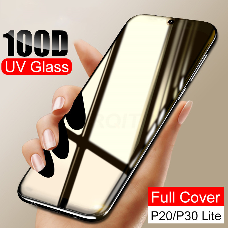 100D UV Liquid Curved Full Glue Tempered Glass For Huawei P20 P30 Pro Lite Mate 20 30 Pro Lite Screen Protector Full Cover