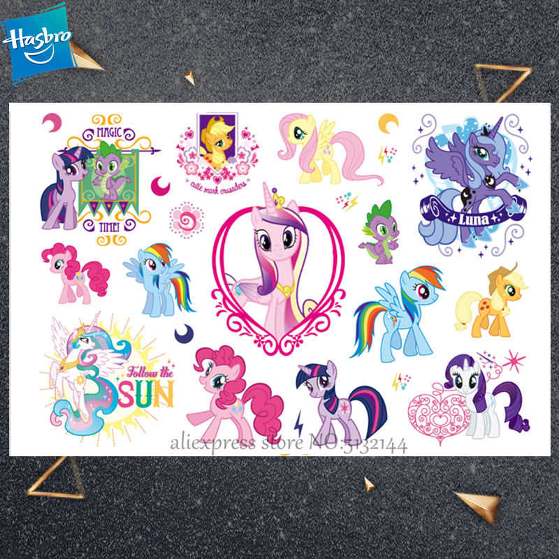 Hasbro My Little Pony Pegasus Cartoon Temporary Tattoo Sticker For Gril Children Toy Waterproof Seaside Birthday party Kids Gift in Stickers from Toys Hobbies