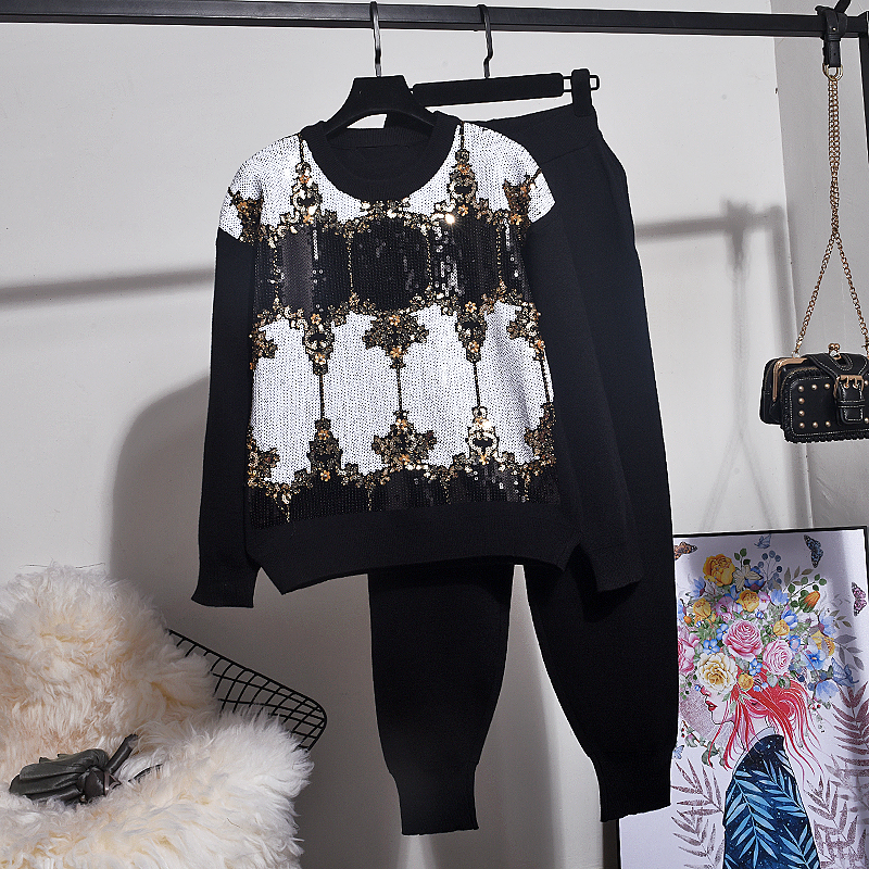 Autumn Winter New Pullover Women Fashion Sequin Long Sleeve Loose Knitted Sweater + Casual Knit Set Women Pants Two Piece Sets