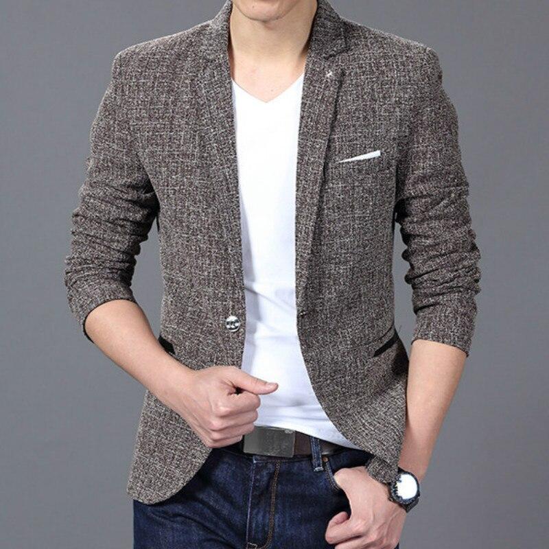 2019 Luxury New Mens Brand Suit Jacket Blazer Leisure Fashion One Button Cotton Slim Fit Men Terno Masculino Blazers Men Coat