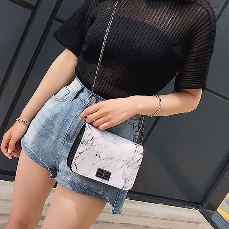 Bags For Women 2019 Marble Pattern Shoulder Bag Lock Buckle Wild Messenger Small Square White Designer Handbags