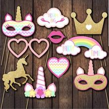 Unicorn Photo Booth Props -10PCS Rainbow Unicorn Pegasus Props for Kids Birthday Party, Baby Shower,Wedding,Unicorn Party Favors 10pcs diy photo frame wooden clip paper picture holder wall decoration for wedding baby shower birthday party photo booth props
