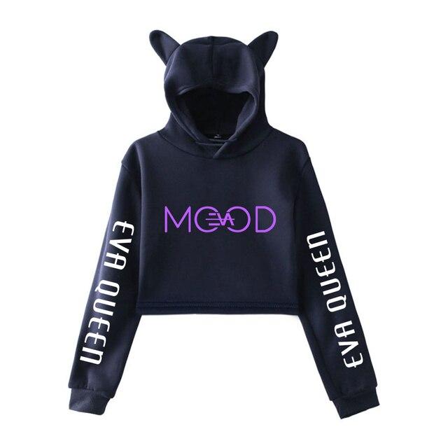 New Eva Queen Pullover Girls Casual Cat Cropped Hoodies Female Long Sleeve Sweatshirts Crop Top Women's Hoodie Eva Queen Tops 4