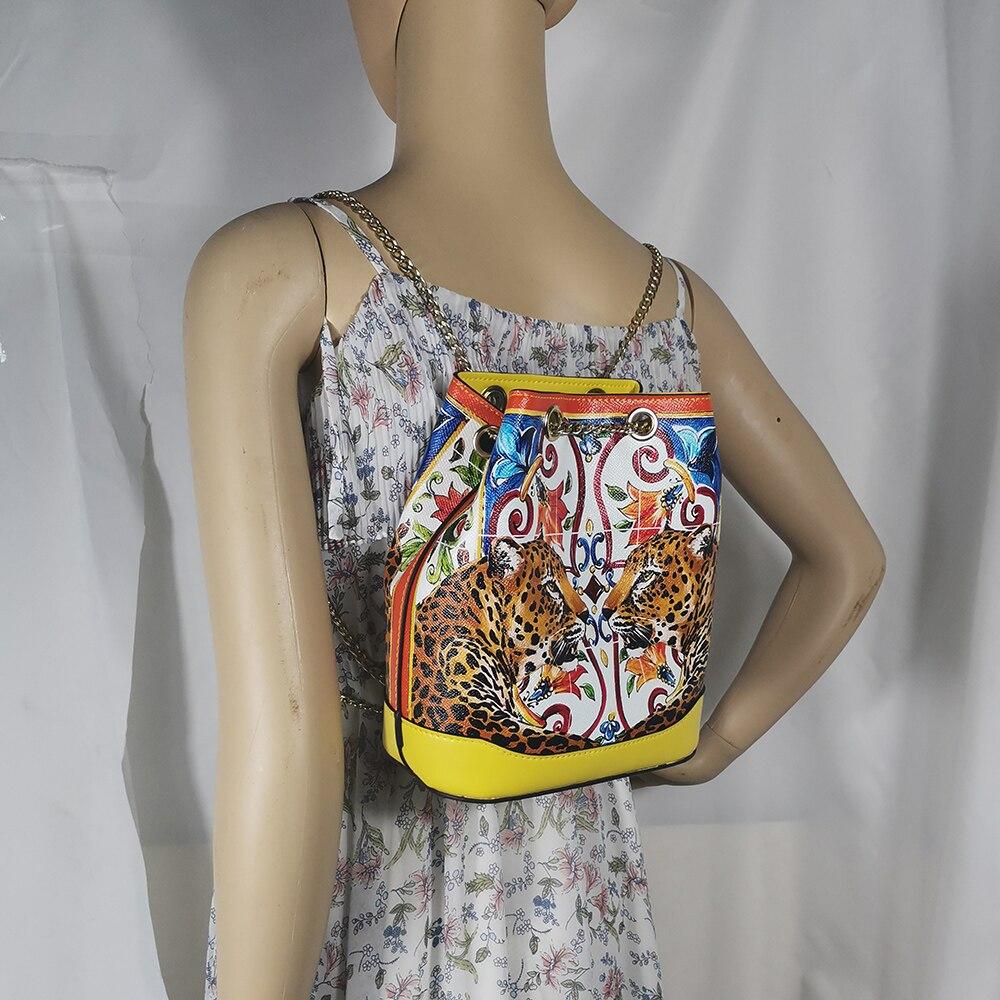 Mode sac à dos dames sac de jeunesse impression couleur mini sac de voyage sac seau sac à dos animal tigre léopard jaune imprimé léopard p