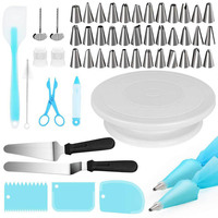 52pcs/Set DIY Cake Turntable Rotating With Dough Knife Shovel Stainless Steel Pastry Nozzles for Cream Making Cake Accessories