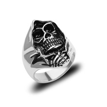 Vintage Skull Gothic Men Ring Retro Skeleton Medusa Serpent Cross Jesus Rings Jewelry Halloween Accessories Anillo Hombre Bijoux(China)