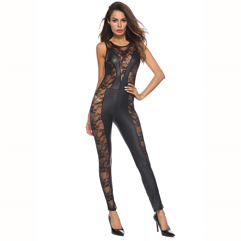 Sexy Patent Leather Mesh Catsuit PVC Latex Fetish Bodysuit Zipper Game Uniform Ladies Hot Erotic Nightclub Pole Dance Lingerie